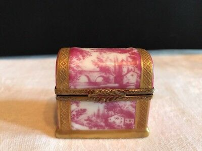 Vintage Limoges Trinket Box Toile French Trunk With Jeweled Perfume Bottles
