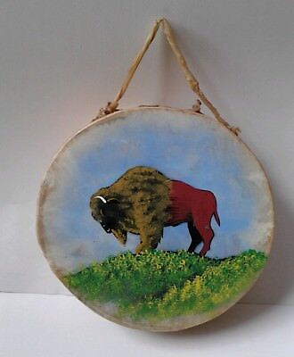 Vintage Native American Indian drum hand painted buffalo