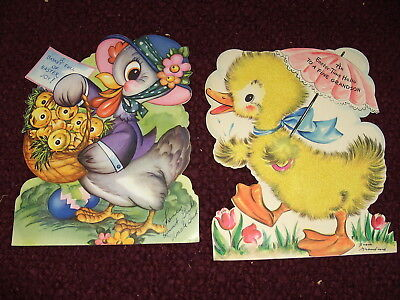 "2 Vintage Large 8.5"" Diecut Easter Stand Up Cards Flocked Duck & Hen"