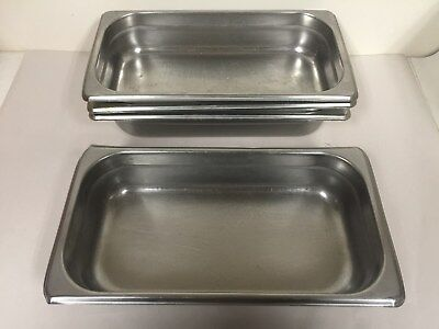 "Lot Of 4 Winco Spjl-302  2 1/2"" 1/3 Size Stainless Steel Steam Table Pans"