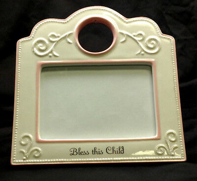 "Baby Bless This Child Picture Frame 5"" x 7"" Photo Pink White Girl Bow Cross Gift"