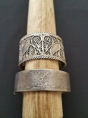 Lot of antique Victorian sterling silver cuff bracelets
