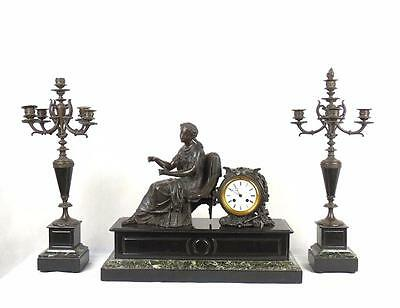 French 19thC Green Marble Slate Bronze Metal Clock Garniture Candelabra