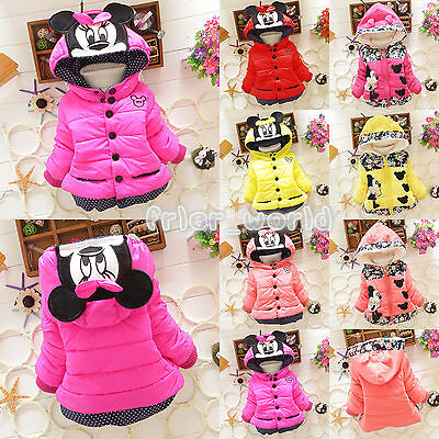 Baby Girls Kids Minnie Mickey Mouse Hoodie Jacket Coat Winter Warm Outerwear 1-5