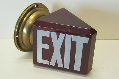 Glass Red Wedge Exit Sign Light Globe Shade With Wall Mount