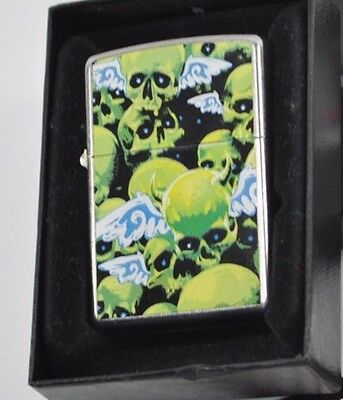 Zippo Lighter Gothic Skulls w/ Wings Waiting Line Brushed Chrome 2009 New in box