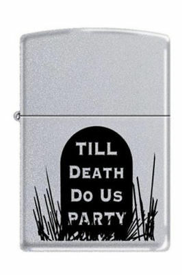 Zippo Lighter Satin Finish #206 Till Death Do Us Part Tombstone 2007 New in Case