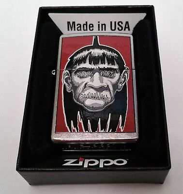 Zippo Lighter Brushed Chrome Gothic Scary Spooky Shrunken Head 2009 New in Box