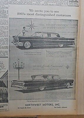 1959 newspaper ad for Lincoln - 1960 Continental, town car, most distinguished