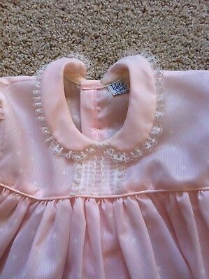 """VTG 50s BABY TODDLER PINK """"PARTY LOOK ORIGINAL"""" STAR LACE EASTER PORTRAIT DRESS"""