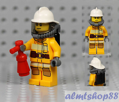 LEGO - MALE Minifigure Firefighter & White Helmet Extinguisher Axe Chief  City