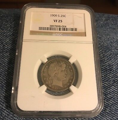 Certified 1909-s Barber NGC VF25