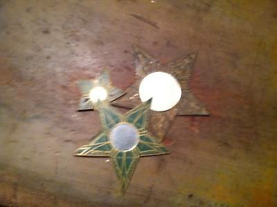 x-10 VINTAGE HAND MADE TIN STARS WITH MIRRORS MAGNETS  RUSTIC