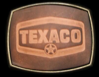 PC16143 *NOS* VINTAGE 1970s **TEXACO** OIL & GAS BRASS & LEATHER OILFIELD BUCKLE
