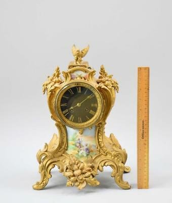 1855 Japy Frères French Porcelain and Gilt Mantel Clock Working No Reserve