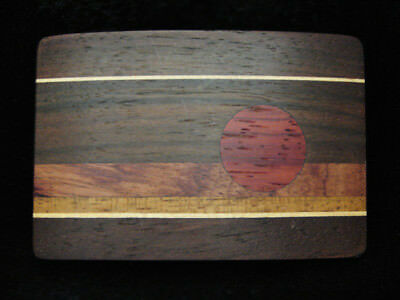 PE13119 *NOS* VINTAGE 1970s **SETTING SUN** WOOD INLAID ART SOLID BRASS BUCKLE
