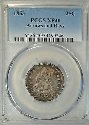 1853 Seated quarter, Arrows and Rays, PCGS XF40