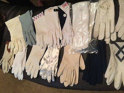Lot of 16 Vintage Ladies Gloves white tan black for costume dress up Victorian