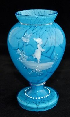 Blue Mary Gregory Enamelled Vase - Girl with Flowers - 14.5cm - VGC