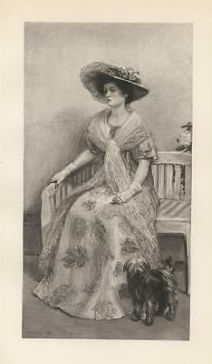 Antique Gorgeous Victorian Woman Hat Art Nouveau Dress Gloves W/ Dog Rare Print