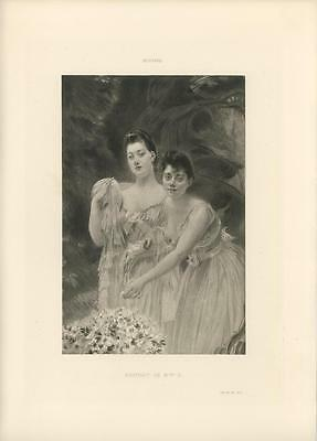 Antique Victorian Sisters Summer Dress Gown Flowers Art Nouveau Besnard Print