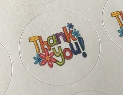Thank You with Flowers !!! ENVELOPE SEALS LABELS STICKERS Celebrations Business