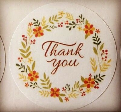 Thank You with Flower Ring  !!! ENVELOPE SEALS LABELS STICKERS Celebrations