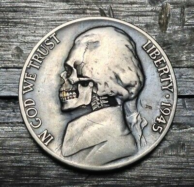 #169 1945 WWII Silver Hobo Nickel Skull With 24k Tooth By JAM RM 1528
