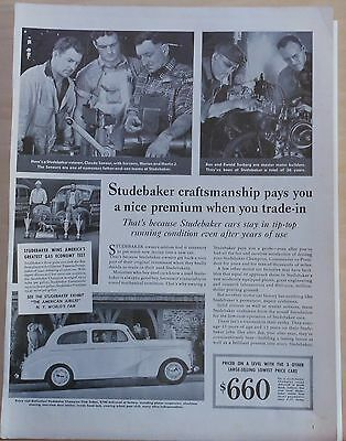 1940 magazine ad for Studebaker - Craftsmanship pays a nice premium