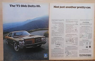 1971 two page magazine ad for Oldsmobile - 1972 Delta 88, not another pretty car