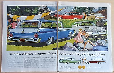 1958 two page magazine ad for Ford - 6 stations wagons, Country Sedan, Ranch
