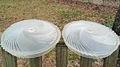 "PAIR of Round 16"" Antique Art Deco Heavy Frosted Glass Light Fixture Covers"