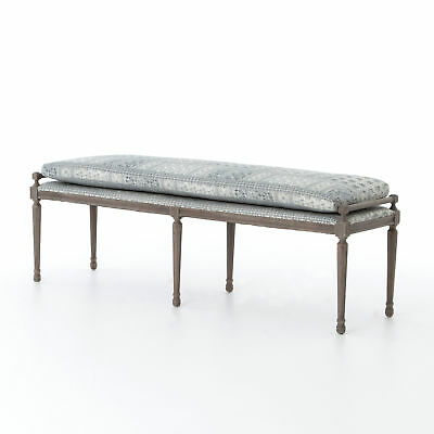 "66.75"" Ambrosia Batik Dining Bench 100% Cotton Oak Indigo Bowden Modern Contemp"