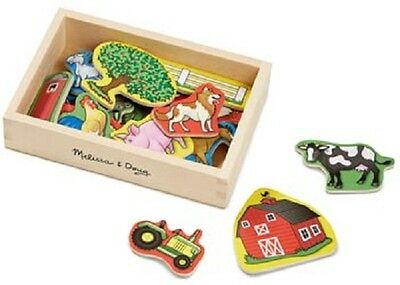 Melissa and Doug Wooden Farm Magnets 20 In A Box - Kids Animal Barn Magnetic