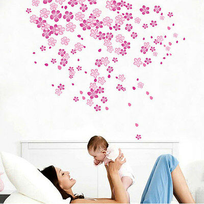 Pink Flower Blossom Rain Wall Decal Removable Sticker Nursery Girls Bedroom Gift