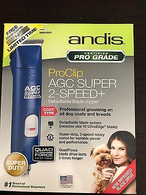 Andis Ultra edge Super 2-speed Detachable Blade Clipper For Animals AGC Blue NEW