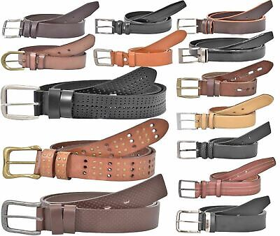 Mens Leather Belts Casual Fine Quality Full Grain Fashion with Real Metal Buckle