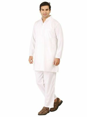 White Cotton Mens Kurta Pajama Indian Ethnic Style Long Kurta Pajama Set S-10XL