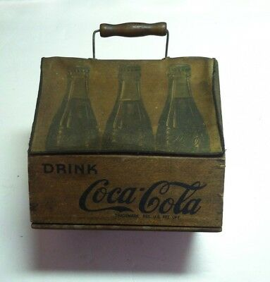 Early Wooden Coca Cola Six Pack  Wood Coke  Bottle Carrier With  Wings and Cover