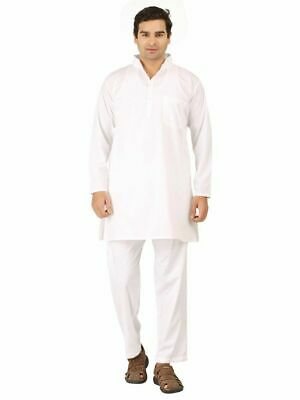 White Cotton Kurta Pajama For Men Yoga Indian Clothing Size S-10XL