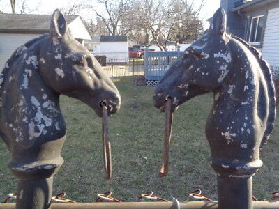 2 vtg Ornate Heavy Cast Iron style metal Horse Head Hitching Posts Fence Topper