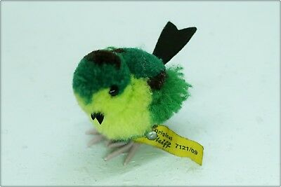 alter WOLLVOGEL STEIFF WOLLTIER VOGEL grün old woolen bird green lens ID 7121/09