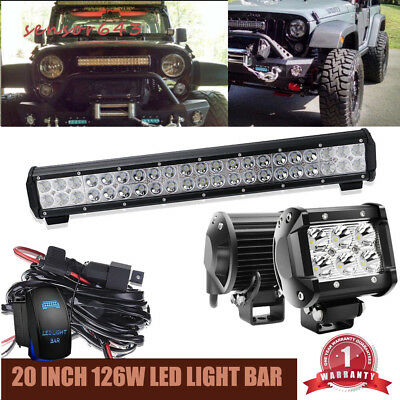 20inch led light bar on front rear bumper with wiring kit for 4 20inch led light bar on front rear bumper with wiring kit for 4 wheeler honda aloadofball Image collections
