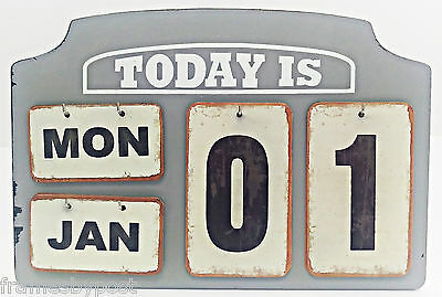 Vintage Flip Style Wood Wall Calendar Distressed Grey Colour Can hang or stand
