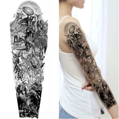 3dec460decb ANGELS KNIGHTS DEVIL Warrior Tiger King Temporary Tattoo Arm Sleeve  Realistic