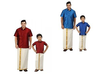Indian  Dhoti shirt Ethenic Wear Designer combine set  Like Father Like Son