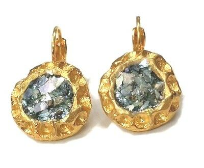 Roman Glass Ancient Fragments Antiques Roman Jewelry Style Gold Plate Earrings