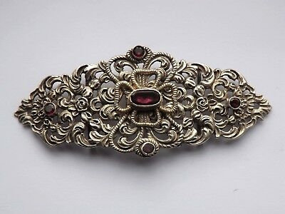 Antique Arts & Crafts Austro-Hungarian Silver & Amethyst Belt Buckle c.1890
