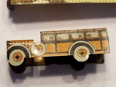 School Bus Cracker Jack Tin Prize Toy Litho Yellow Red Rare Old