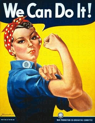 Rosie the Riveter WE CAN DO IT - WW2 American Propaganda Poster - WWII Repro Art